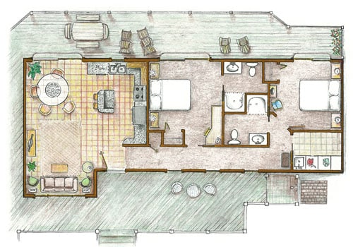 Floor plan showing 2 bedrooms/baths and open kitchen/dining/living area with waterfront deck