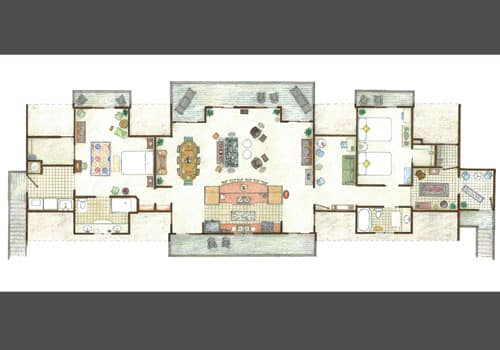 Floor plan showing 2 bedrooms/baths and open kitchen/dining/living area with waterfront balconies